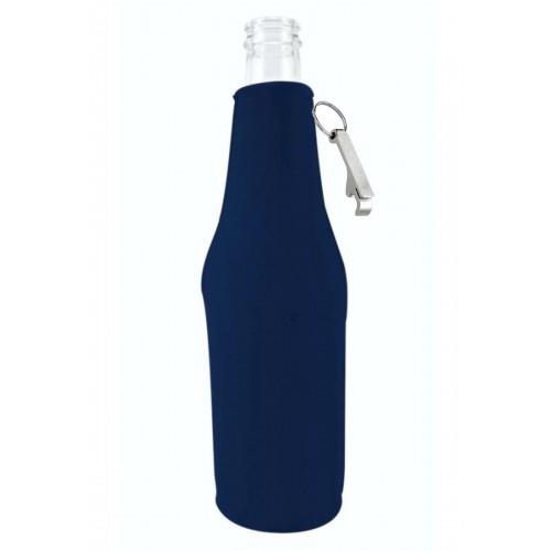 Zipper Beer Bottle Coolie w/Opener (Small Order)